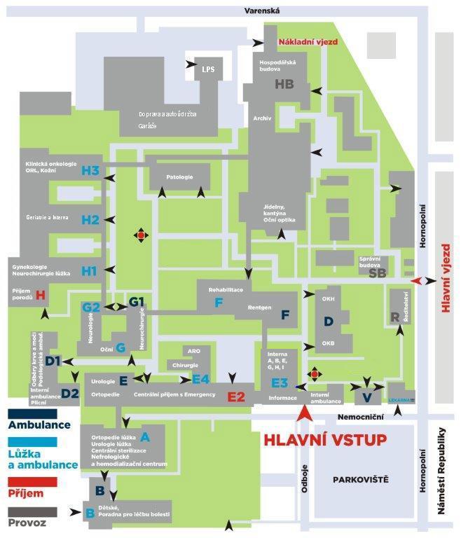 Mapa areálu Městské nemocnice Ostrava